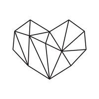 Frame geométrico da forma do coração do símbolo do vetor com lugar para o texto. Amo o ícone para cartão ou casamento, dia dos namorados, tatuagem, impressão. Vector caligrafia ilustração isolado em um fundo branco
