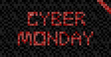Bandeira de Cyber segunda-feira. Dia de venda em lojas online. Ilustração plana de pixel