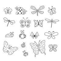 selos digitais pretos da borboleta e do joaninha do esboço vetor