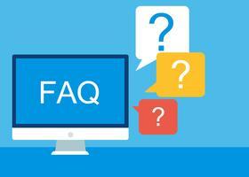 Perguntas freqüentes FAQ banner. Computador com ícones de pergunta. Ilustração vetorial plana