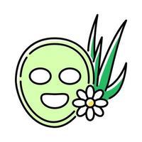 ícone de máscara facial vegan de cor verde vetor