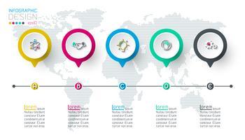 Infográfico de rótulo de círculo com 5 etapas.