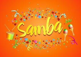 """Explosão de Confetti em torno de """"Samba"""" vetor"""