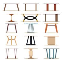 Conjunto de móveis de mesa de madeira vetor