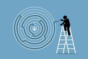O homem encontra com sucesso a solução e a saída de um quebra-cabeça de labirinto redondo. vetor