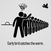 Early Bird pega o worm. vetor