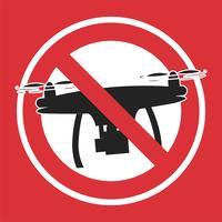 Nenhum sinal de zona de drone. Nenhuma zona de voar. Ilustração vetorial plana vetor