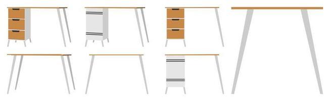 linda mesa de escritório em casa moderna fofa para freelancer com diferentes poses e posição com gaveta vetor