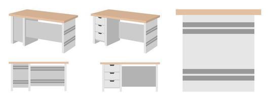 linda mesa de escritório em casa moderna fofa para freelancer com diferentes poses e posição com gaveta isolada vetor