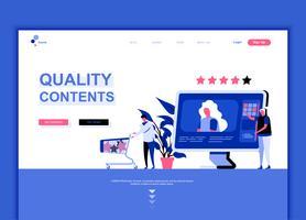 Conceito de modelo de design de página web plana moderna de conteúdo de qualidade