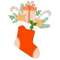 meia vermelha de Natal com presentes. ilustração vetorial vetor