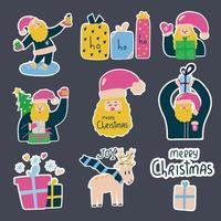 grande conjunto de adesivos bonitos de mão desenhada com Papai Noel e caixas de presente. conceito de feliz natal. vetor