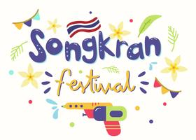 Vetor de festival Songkran de Tailândia