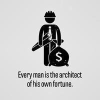 Todo homem é o arquiteto de sua própria fortuna. vetor