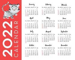 calendário 2022 para os estados unidos com ilustração de tigre, ano do símbolo. grade de calendário em inglês vetor