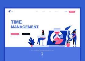 Conceito de modelo de design moderno web página plana de gerenciamento de tempo vetor