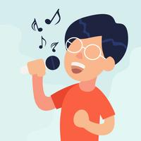 Menino, cantando, ilustração vetor