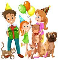 Família com filha e muitos animais de estimação vetor