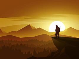 homem no topo da colina ao pôr do sol vetor