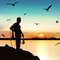 Silhueta do homem que espera para travar o peixe no crepúsculo. vetor