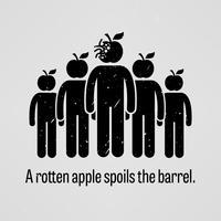 Uma maçã podre estraga o barril.