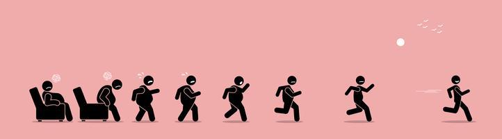 Homem gordo se levantando, correndo e se transformando em magra transformação.