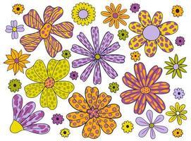 conjunto estranho flor floral estilizado paint.collection planta botões floral abstrato. vetor