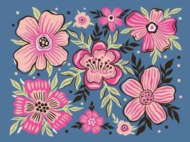conjunto flor floral estilizado paint.collection planta botões floral abstrato. vetor