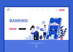 Conceito de modelo de design moderno web página plana de serviços bancários on-line