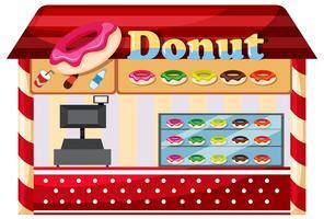 Uma loja de donuts no fundo branco vetor