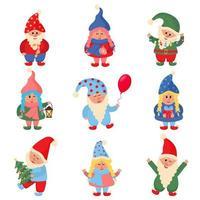 Natal bonitinho coleção de gnomos. vetor