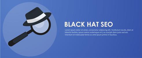 Bandeira de seo de chapéu preto e branco. Lupa e outras ferramentas e táticas de otimização de mecanismo de pesquisa. Ilustração vetorial plana