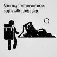 Uma jornada para mil milhas começa com um único passo. vetor