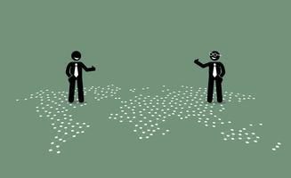 Dois empresário de diferentes países dando o polegar até ao outro em cima de um mapa do mundo. vetor
