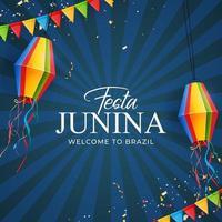 fundo de festa junina com bandeiras de festa, lanterna. Brasil junho fundo festival para cartão, convite de férias. ilustração vetorial vetor