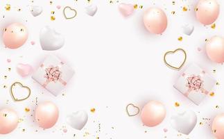 projeto do fundo do dia dos namorados s com caixa de presente realista e coração. modelo para anúncios de publicidade, web, mídia social e moda. cartaz, folheto, cartão de felicitações. ilustração vetorial eps10 vetor