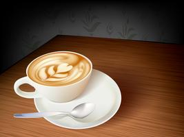 Xícara de café e sementes no fundo branco