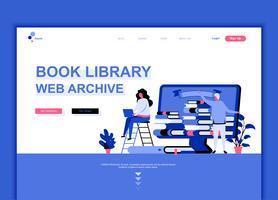 Conceito de modelo de design de página web plana moderna da biblioteca do livro