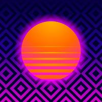 Fundo retrô Geométrico Com Vaporwave Sun vetor