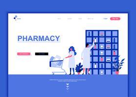 Conceito de modelo de design moderno web página plana de farmacêutico