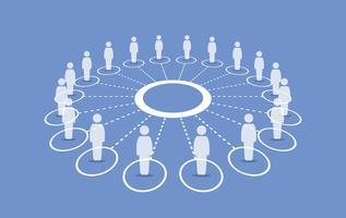 Pessoas em pé em torno de um círculo conectando uns com os outros.