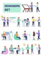 Conjunto de espaço de coworking com criativos pessoas sentadas à mesa.