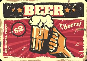 Sinal de cerveja retrô vetor