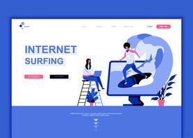 Conceito de modelo de design moderno web página plana de surf na Internet