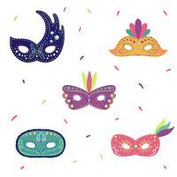 Cute Ornament Carnival Mask Set Coleção vetor