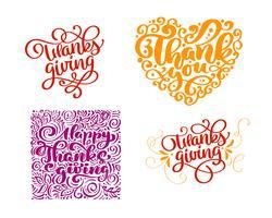 Conjunto de texto de caligrafia Obrigado por feliz dia de ação de Graças. Família de férias Positivo cita a rotulação. Elemento de tipografia design gráfico cartão postal ou cartaz. Mão escrita vector