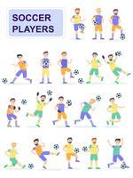 Conjunto de jogadores de bola de futebol com poses diferentes vetor