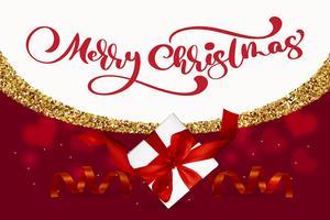 Feliz Natal que rotula, ilustração vermelha do vetor do fundo, com uma caixa de presente da malha e uns flocos de neve dourados. Cartão de Natal