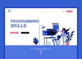 Conceito de modelo de design de página web plana moderna de habilidades de programação vetor