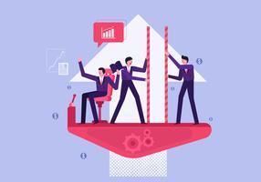 Pessoas de negócios, cooperando em trabalho de grupo Vector ilustração plana